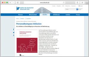 Website-Screenshot des Personalkompasses auf den Seiten des Institus der deutschen Wirtschaft