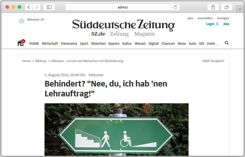 Screenshot der Reportage zum Thema Inklusion und Bildung auf sueddeutsche.de