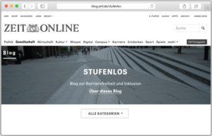 """Screenshot-Vorschau des Blogs """"Stufenlos"""" von Christiane Link."""