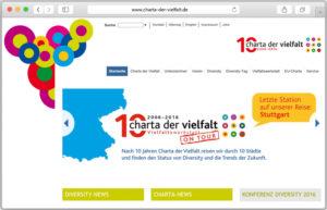 Screenshot der Webseite der Charta der Vielfalt