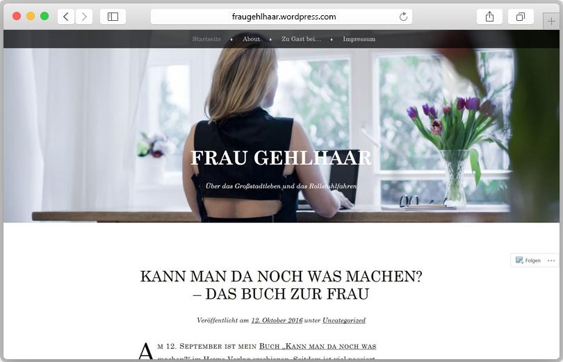 Screenshot des Blogs von Frau Gelhaar
