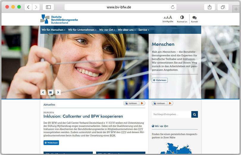 Screenshot der Website des Bundesverbandes des Deutschen Berufsförderungswerke