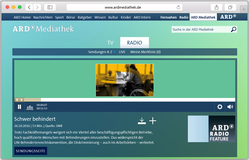 Screenshot des Radiofeatures in der ARD-Mediathek