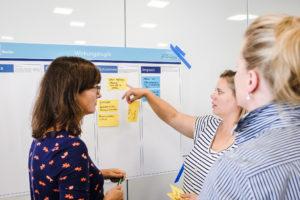 Drei Frauen besprechen an einem Flipchart die Ideen für ihr Projekt.