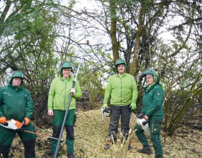 Tobias Rottmann (zweiter von rechts) und sein Gartenbau-Trupp stehen in grünen Arbeitsjacken und mit Motorsägen in der Hand mitten im Gestrüpp und schauen in die Kamera.