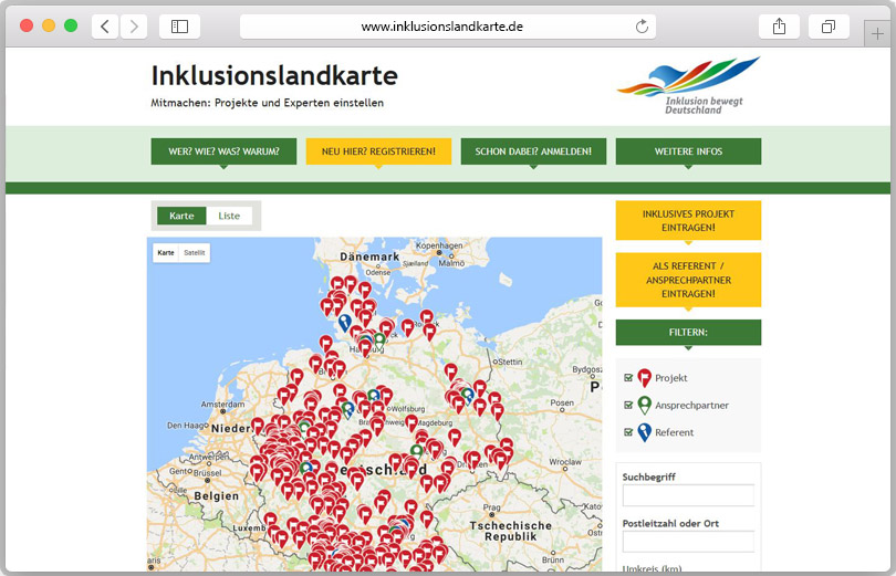Die digitale Inklusionslandkarte zeigt mit Pins alle Inklusionsprojekte deutschlandweit.