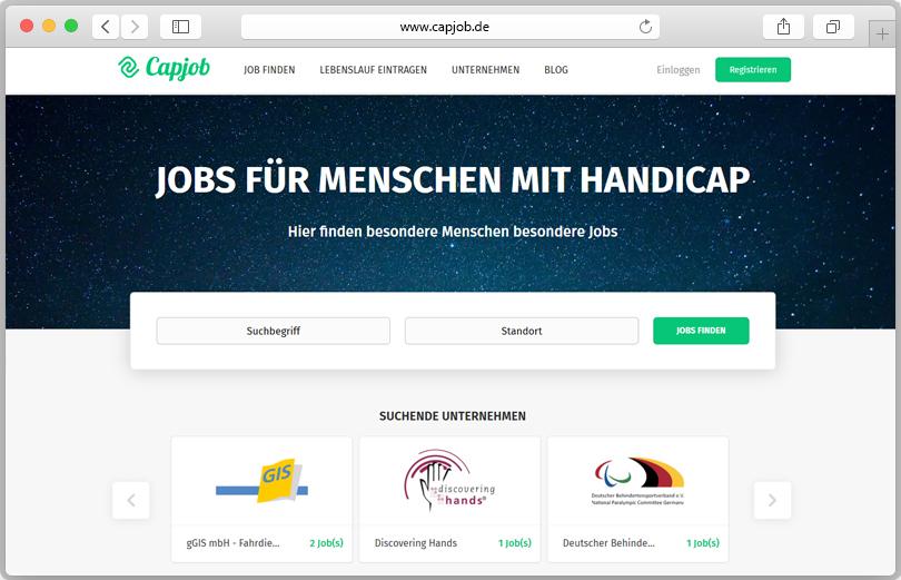 Vorschau auf das Stellenanzeigenportal Capjob.de