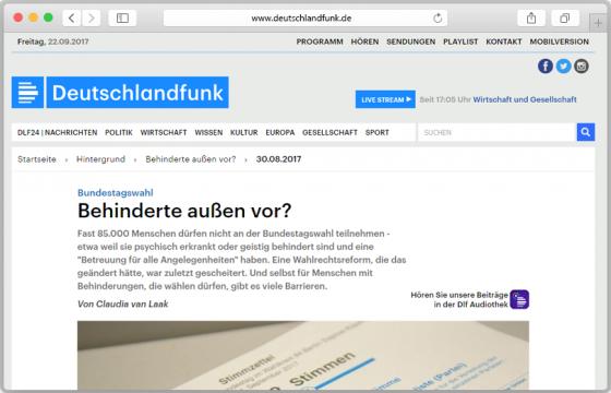 Screenshot der Deutschlandfunk-Seite