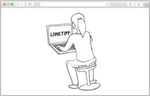 Illustration einer Frau von hinten, die an einem Laptop sitzt und im Internet surft.