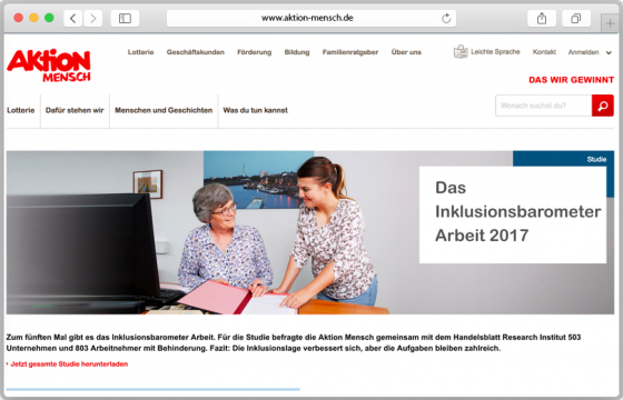 Screenshot der Website der Aktion Mensch