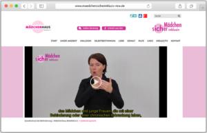 """Screenshot des Gebärdensprach-Videos auf dem Portal """"Mädchen sicher inklusiv"""""""