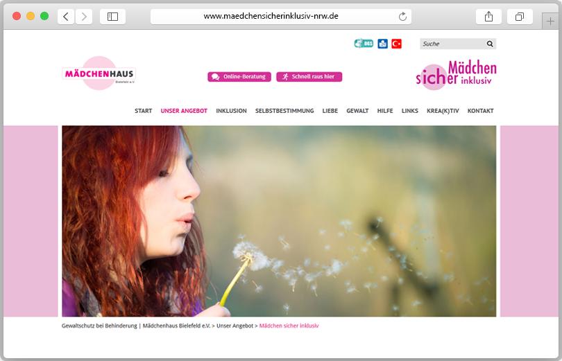 """Screenshot des Portals """"Mädchen sicher inklusiv"""""""