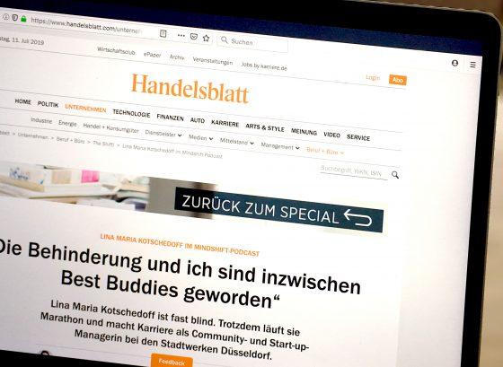 Screenshot der Mindshift-Podcast-Seite auf handelsblatt.de.