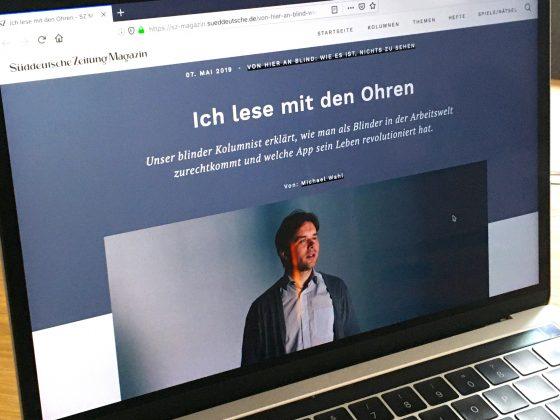 Aufgerufene Website mit der Folge 5 der SZ-Magazin-Kolumne auf einem Macbook.