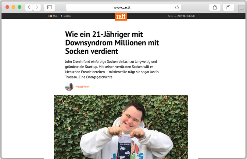 Website-Screenshot ze.tt mit Artikel über John Cronin