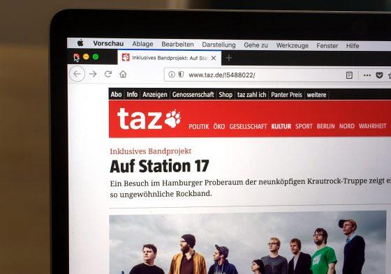 Monitor mit aufgerufener taz-Seite