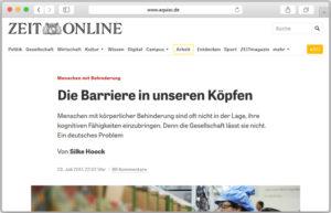 """Screenshot des Artikels """"Die Barrieren im Kopf"""" auf ZEIT Online"""