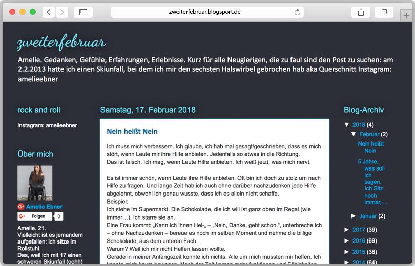 Screenshot des Blogs von Amelie Ebner.