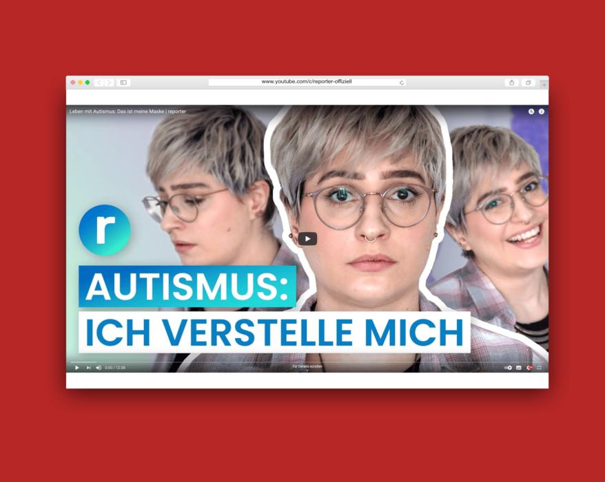 """Rot hinterlegtes Bildschirmfoto des Video-Players auf YouTube: Die Autistin Lisa ist drei Mal mit verschiedenen Gesichtsausdrücken zu sehen, darunter steht """"Autismus: Ich verstelle mich"""""""