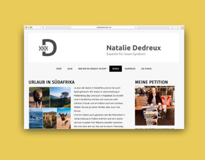 Screenshot des Reiseblogs von Natalie Dedreux