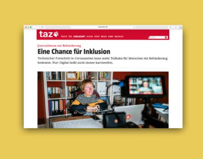 """Gelb hinterlegter Screenshot des Artikels auf taz.de: Die Überschrift lautet """"Eine Chance für Inklusion"""", darunter steht ein Bild einer Frau mit Rollstuhl am Schreibtisch, die auf einen Bildschirm schaut."""