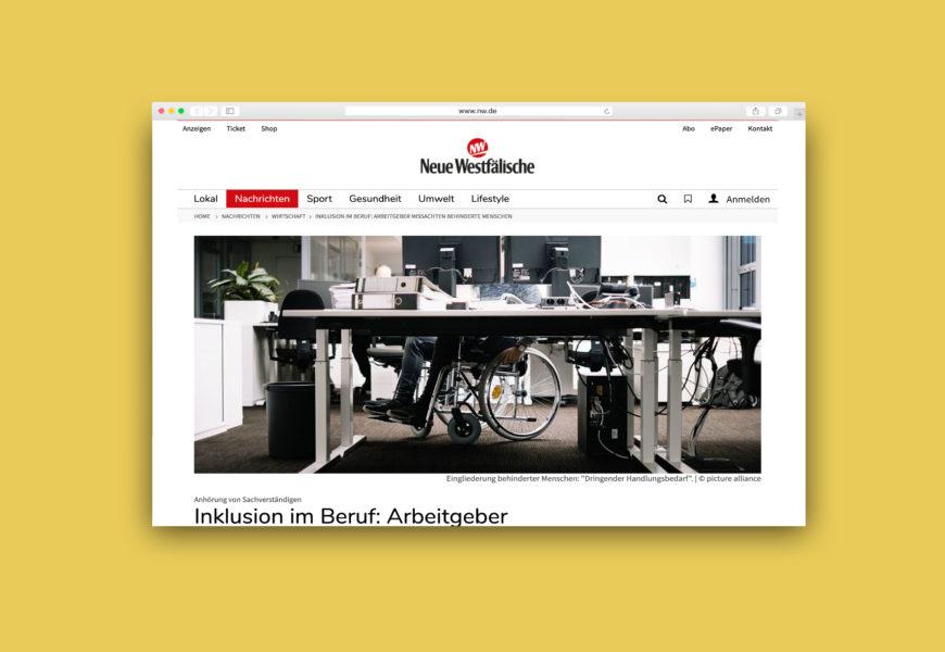 Screenshot des Artikels auf nw.de