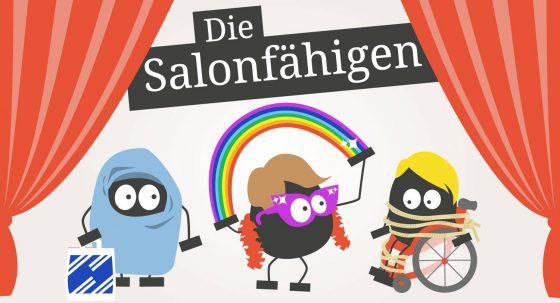 """Grafik mit Schriftzug """"Die Salohnfähigen"""", darunter drei Männchen mit Kopftuch, mit Regenbogen und mit Rollstuhl auf einer Bühne."""