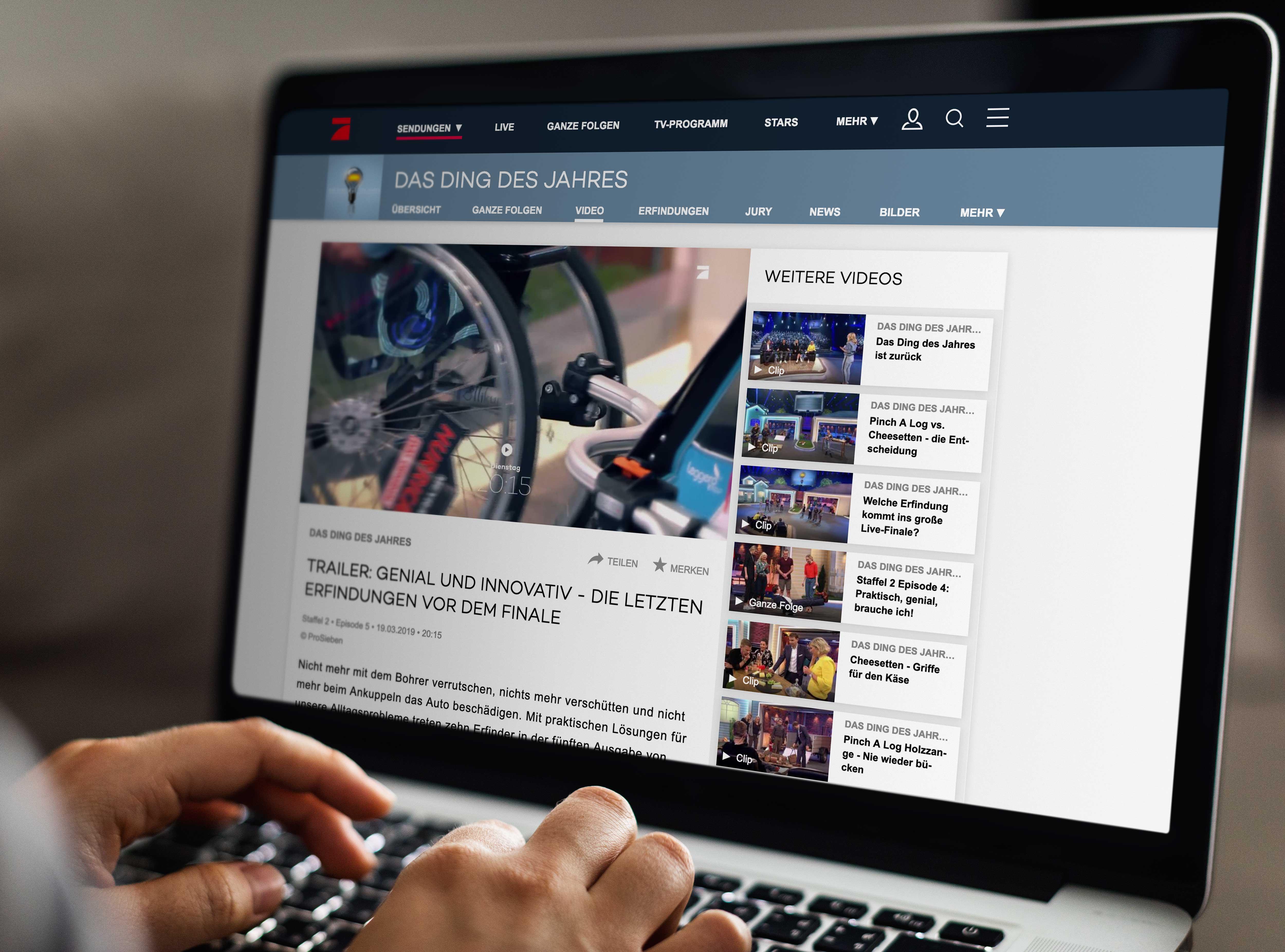 Blick auf den Bildschirm eines Laptops, auf dem die Website zur TV-Show aufgerufen ist.
