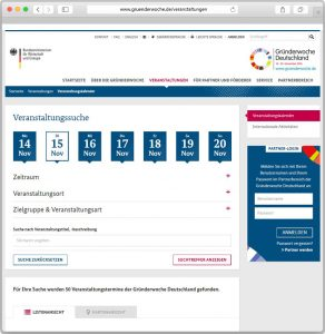 Screenshot des Veranstaltungskalenders der Gründerwoche.