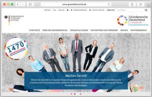 Screenshot der Gründerwoche-Website.
