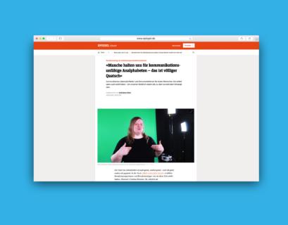 Blau hinterlegter Screenshot des Artikels auf spiegel.de