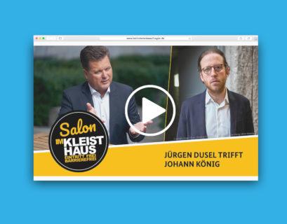 """Website-Mockup des Videos der Interviewreihe """"Salon im Kleishaus"""" mit Gast Johann König"""