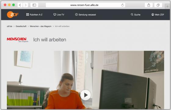 Foto der Website in der ZDF-Mediathek, auf der einer der Kurzfilme abgespielt werden kann.