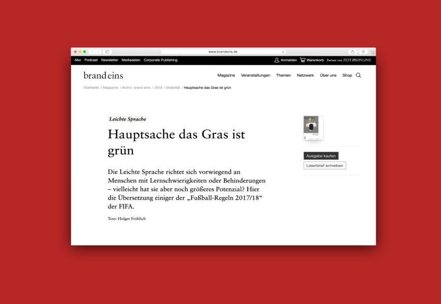 Screenshot des Artikels auf brandeins.de