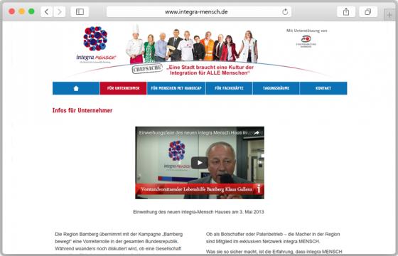 Vorschau auf die Website der Initiative integra MENSCH