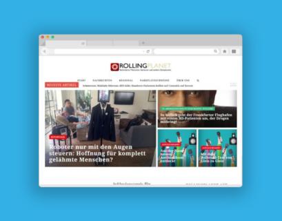Blau hinterlegter Screenshot der Startseite von rollingplanet.net