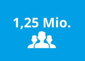 Die Zahl 1,25 Mio. und scherenschnittartige Köpfe von Menschen in weiß auf blauem Untergrund.