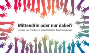 """Grafik: Bunte Hände rund um den Bildrand, in der Mitte steht """"Mittendrin oder nur dabei?"""""""